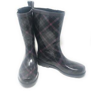 Women's Rubber Mid Calf Rain Boots, #3153, Plaid